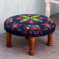Seesham Wood Cotton Rayon 'Elephant Blooms' Foot Stool (India) | Overstock.com Shopping - The Best Deals on Ottomans