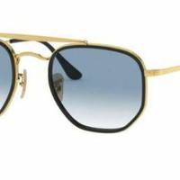 Ray Ban 3648m 52 91673f Gold Black Sunglasses Eyeglasses Double Bridge Blue