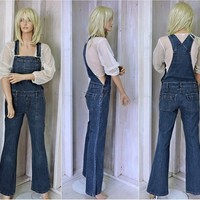 90s Overalls size M  / womens bib overalls / dark wash denim / bell leg / form fit