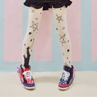 2016 new cosplay lolita cute tights stars and moon print tights castal print vintage tights Japan Japanese harajuku tights