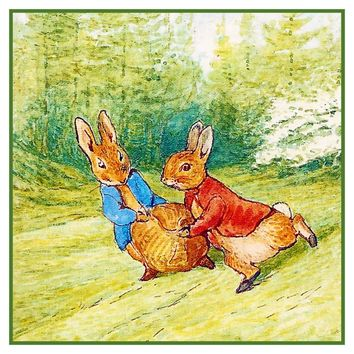 Peter Rabbit and Ben Run Field inspired by Beatrix Potter Counted Cross Stitch Pattern