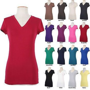 Juniors Short Sleeve V Neck Cotton Basic Stretch T-shirt Top