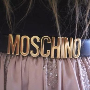 """Hot Sale """"MOSCHINO"""" Fashionable Simple Letter Belt Candy Color Belt Black I/A"""