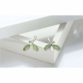 Green Vine Branch Silver Studs Earrings