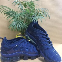 2018 Nike AIR Vapormax Plus Obsidian Blue Flyknit Max 924453-401  Basketball Sneaker