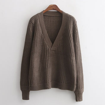 Brown V-Neck Knitted Sweater