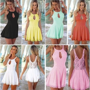 2016 Summer New Women Chiffon Playsuits Lace Stitching Hollow-out Backless Vest Jumpsuits Solid Color Casual Rompers Fashion Lady 6 Colors