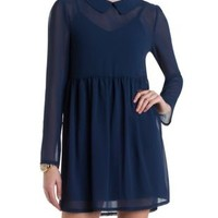 Long Sleeve Chiffon Babydoll Dress by Charlotte Russe