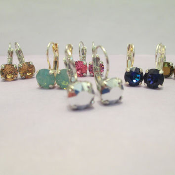 Swarovski LEVERBACK DROP EARRINGS, pick your color. pick your finish, designer inspired