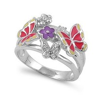 Sterling Silver Cubic Zirconia Butterfly and Flower Ring