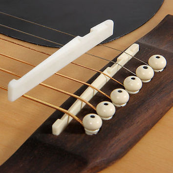 Buffalo Bone Bridge Saddle And Slotted Nut For 6 String Acoustic Guitar HU