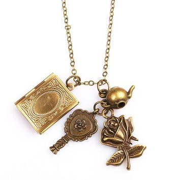 Beauty and the Beast Necklace Retro Phase Box Mirror Flower teapot For Valentine's Day Gift Necklace Pendant For Women Man Colar
