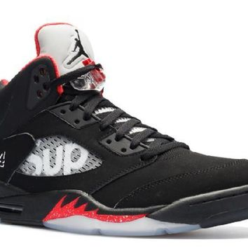 Ready Stock Nike Air Jordan 5 Retro Supreme Supreme Basketball Sport Shoes