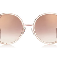 Jimmy Choo - Andie Shaded Mirror Gold Acetate Round Framed with Gold Silver Crystal Fabric Detailing and Havana Brown Arms Sunglasses