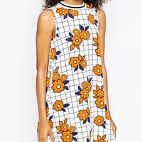 ASOS Grid and Flower Dress with Sporty Neck Trim