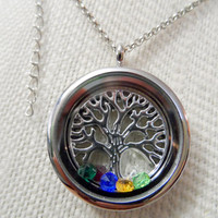 Family Tree floating memory locket Includes up to 6 Birthstones and FREE 20-22 adjustable lobster clasp chain