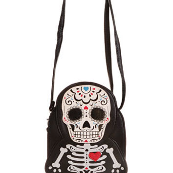 Sugar Skull Skeleton Crossbody Bag - PLASTICLAND