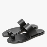 Woman by Common Projects / Minimalist Leather Sandal in Black