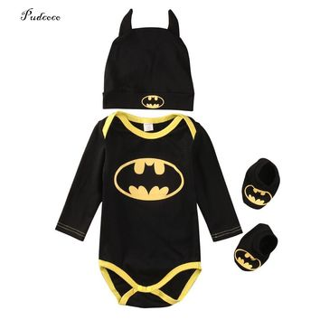 2017 Cute Batman Newborn Baby Boys Infant Bodysuit +Shoes+Hat 3Pcs Outfit Clothes Set Size 0-24M