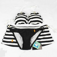 Polo Fashion Halter Brassiere Underpant Shorts Set Three-Piece Bikini