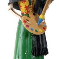 Frida Kahlo Painting Skeleton Day of the Dead Statue - T83590