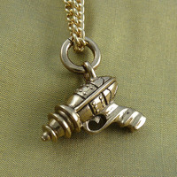 "Ray Gun Necklace Bronze RayGun Pendant on 24"" Gold Plated Chain"