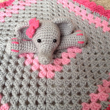 Crochet Elephant Lovey Security Blanket - Customizable for Boys and Girls