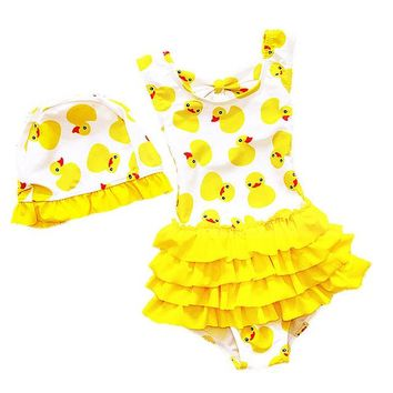 1-8 Years Old Kids Swimsuit For Girls Lovely Yellow Duck Bathing Suit Children Swimsuit Princess One Piece Swimwear Swimming Cap