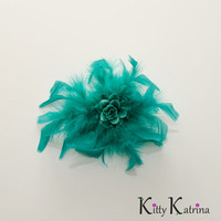 Aqua Rose Feather Flower Clip, Aqua Flower Hair Clip, Prom Gown, Bridal Flower Clip, Aqua Flower Girl Dress, Holiday Dress, Party Dress