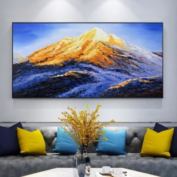 Snow Mountains Peaks Gold painting Abstract Oil painting on canvas Palette Knife blue Modern large painting Wall Pictures cuadros abstractos