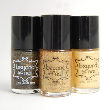 Gold Nail Polish Set - Holographic Glitter, Glitter in Black Base, and Pearl