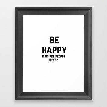 BE HAPPY Framed Art Print by Love from Sophie