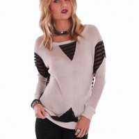 Beige Long Sleeve Sweater with Sheer Inserts and Back