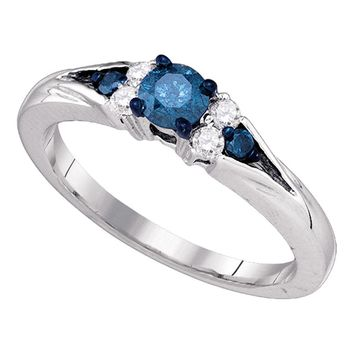 10kt White Gold Womens Round Blue Color Enhanced Diamond Solitaire Bridal Wedding Engagement Ring 1/2 Cttw
