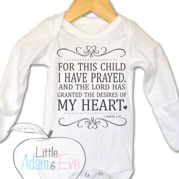 For this Child I have prayed, Christian Baby Onesuits®, For this Child,  God Onesuit, Christian Onesuit, Religious Onesuit