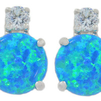 Blue Opal With Zirconia Round Stud Earrings .925 Sterling Silver Rhodium Finish