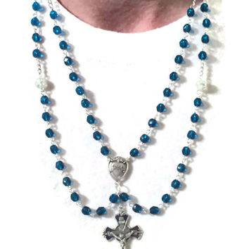 Rosary Necklace Blue Lazulite and Enameled Crucifix / Strength Cross Necklaces Women / Catholic Christian Jewelry Bride Mother Sacred Heart