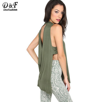 Cut Out Back Tank Top Women Army Green Split Side Sexy Sleeveless Summer Tops 2017 New High Neck Loose Casual Tank