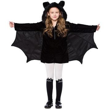 4-12T Kid Girls Black Bat Costume Halloween Hooded Jumpsuit Romper Cosplay Outfit With Wings Ears Stockings For Child Teen Girls