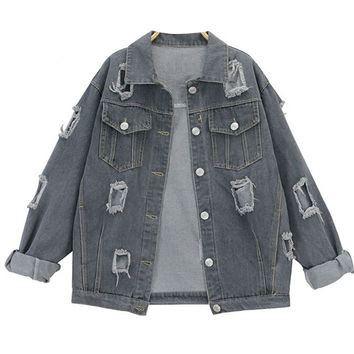 Boyfriend Distressed Denim Jacket with Front Pockets
