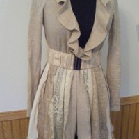 Tan and Ivory Lightweight Gypsy Sweater Coat SOLD