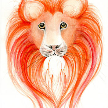 Animal Painting Lion Watercolor Painting Print Animal Painting Watercolor Painting