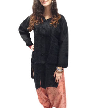 Bohemian Womens Long Tunic Cotton Floral Embroidered Indian Kurta Caftan Dress