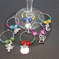 Disney fairy tales themed wine glass charms