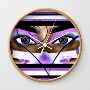 purple gaze Wall Clock by violajohnsonriley