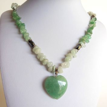 Handmade Green Stone Necklace with Magnetic Beads and Heart Pendant - Aventurine, Hematite