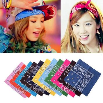 Chic Multipurpose Hip-hop Unisex Paisley Bandanas Hair bands Single Sided Head Wrap Scarf Wristscarf Accessories For Men Woman