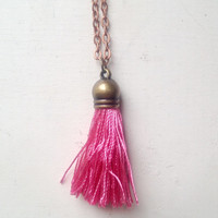 Silk Dark Pink Tassel Necklace with 24 inch Copper Chain, Gift Box Included