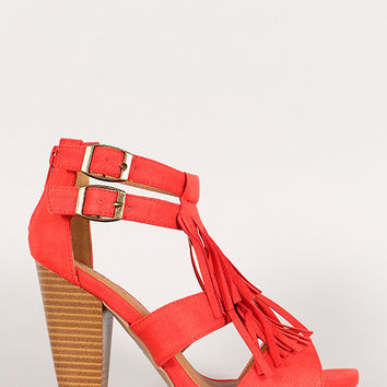 Qupid Suede Double Buckle Fringe Cut Out Chunky Heel