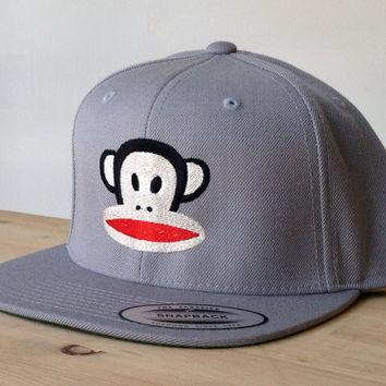 SnapBack Monkey Frank Hat with Custom Embroidered Logo.  Made to order quality snap back hats and designs